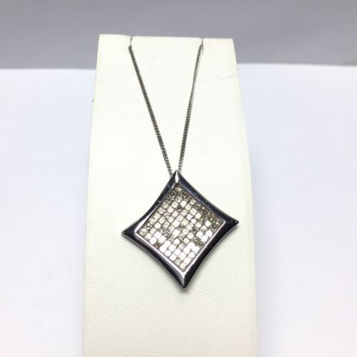 14K Solid White Gold Pendant w/ DIAMONDS G-VS 3 TCW Made In Italy