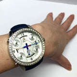 47mm JACOB & Co. 5 Time Zone SS Unisex Watch w/ FACTORY DIAMONDS & New Blue Band