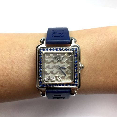 CHOPARD BE HAPPY 2 Steel Ladies Watch w/ BLUE SAPPHIRES & DIAMONDS, Chopard Band