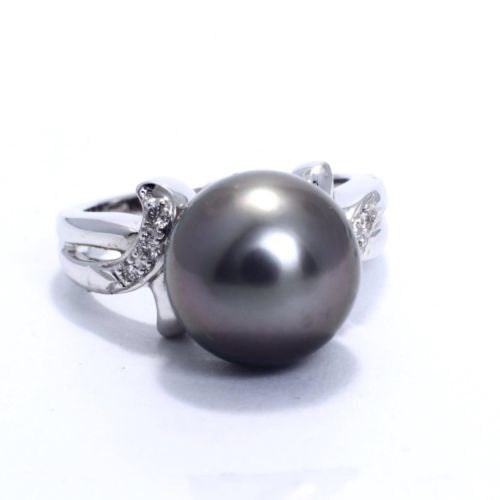 CAROL BRODIE Cultured Tahitian Black Pearl 18K White Gold RING w DIAMONDS 0.08CT