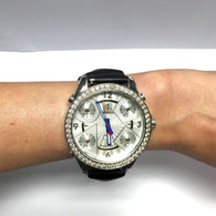 47mm JACOB & Co. 5 Time Zone SS Unisex Watch w/ FACTORY DIAMONDS & Original Band