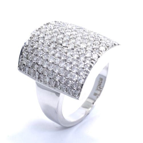 BONIA B 14K White Gold DIAMOND RING 2.10 TCW, G, VS-SI Size 7.25 Resizable, 7.4g