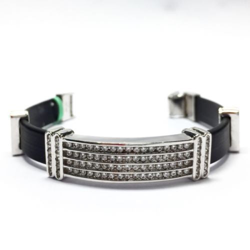 14K White Gold & Black Rubber DIAMOND 3 TCW MEN'S/UNISEX BRACELET 7