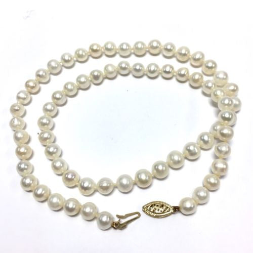 Single Strand 14K Yellow Gold Natural White Pearl NECKLACE 18 Inches Long