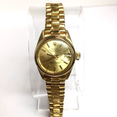ROLEX OYSTER PERPETUAL DATEJUST 18K GOLD Ladies Watch w/ Gold Dial In Box