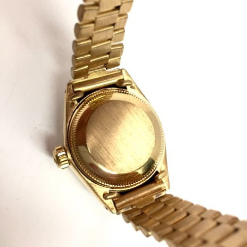 2f3ad7f065aa ... ROLEX OYSTER PERPETUAL DATEJUST 18K GOLD Ladies Watch w  Gold Dial In  Box ...