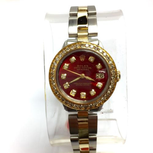 ROLEX OYSTER PERPETUAL DATEJUST 18K Yellow Gold & Steel Ladies Watch In Box