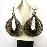 Metal EARINGS With Black And Gold Fabric Appliqué 7g