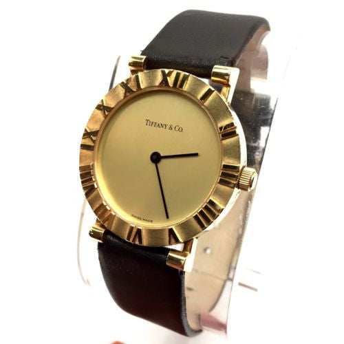 TIFFANY & Co. ATLAS 18K Yellow Gold Ladies Watch w New Black Leather Band In Box
