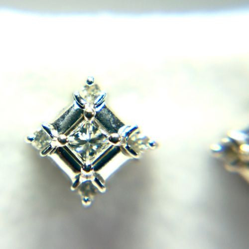 14K Solid White Gold DIAMOND Studs Earrings G SI-VS 0.35 TCW