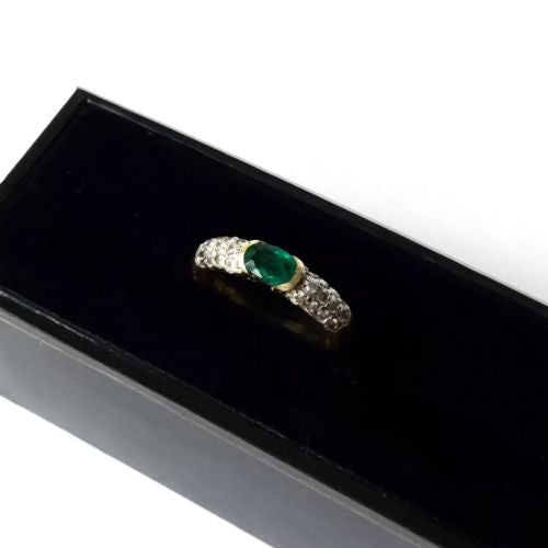 Stunning 14K Yellow Gold Ring With Emerald  & Diamonds TCW 0.48ct 2.7g Size 6