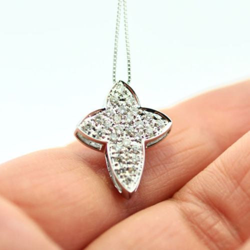 14K White Gold 2 SIDED DIAMOND 0.75 TCW PENDANT w/ Chain, 3.6g