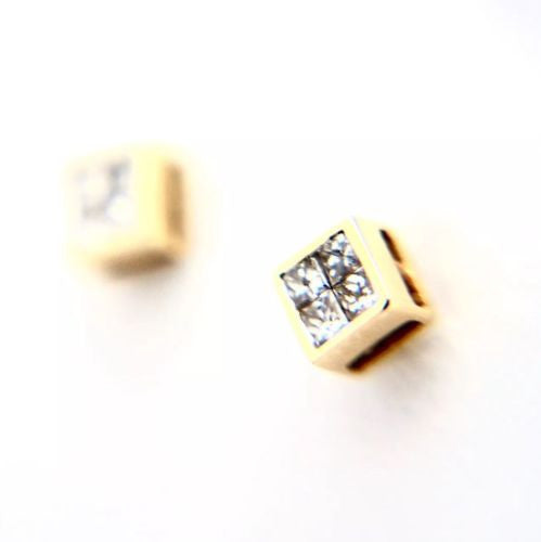 14K Solid Yellow Gold DIAMOND Studs Earrings G VS 0.25 TCW 1.2g.