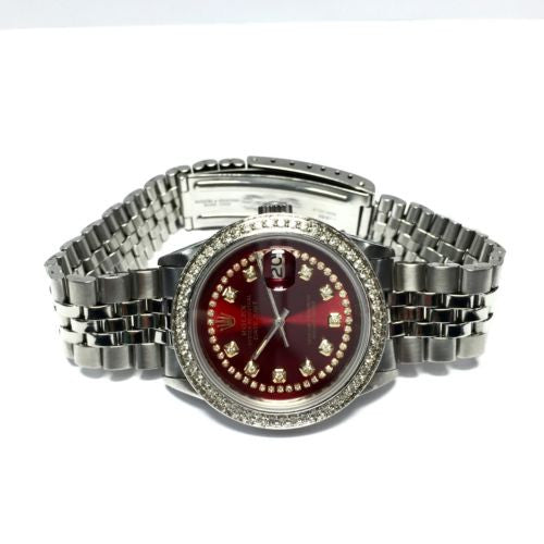 ROLEX OYSTER PERPETUAL DATEJUST SS Men's Watch 1.2TCW DIAMOND Bezel & Red Dial