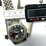 ROLEX DATEJUST Steel Men's Watch w/ Diamond Bezel & Black Diamond Dial In Box