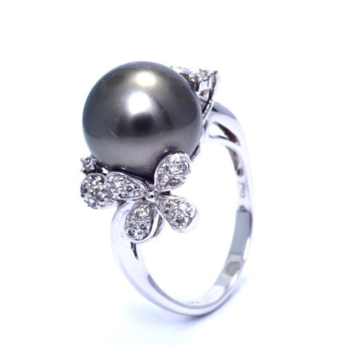 CAROL BRODIE 18K White Gold RING w/ Cultured Tahitian BLACK PEARL & DIAMONDS