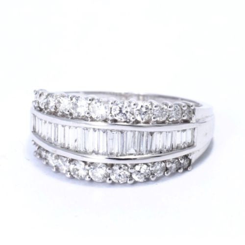 14K Solid White Gold DIAMOND RING 1.5 TCW, G, VS-SI, Size 7.5 Resizable, 3g