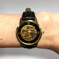 30mm FRANKLIN MINT 18K Solid Yellow Gold SKELETON Case Ladies Watch