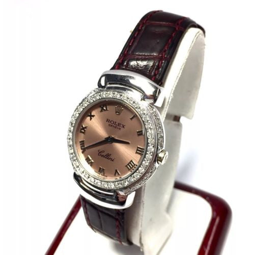 ROLEX CELLINI 18K Solid White Gold Ladies Watch w/ Peach Dial & Burgundy Band