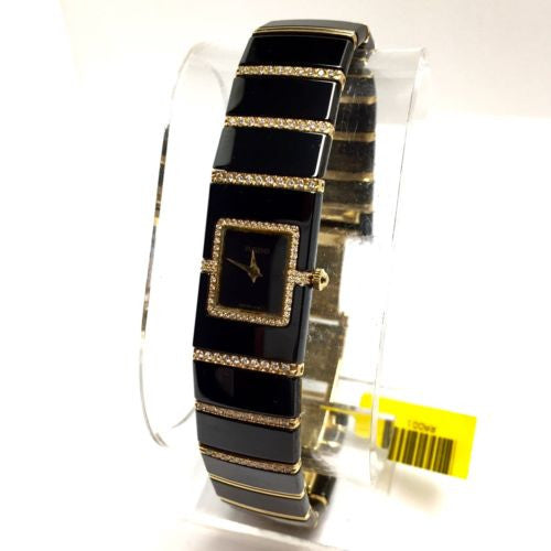 RADO DiaStar 18K G-P Steel & High-Tech Ceramics Ladies Watch w Diamonds In BOX