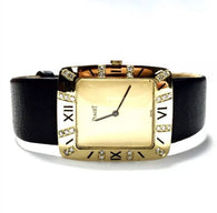 Authentic PIAGET 18K Solid Yellow Gold Ladies/Unisex Watch w/ Black Leather Band