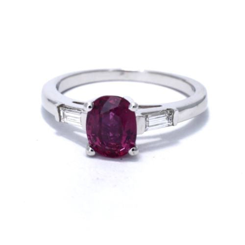 Platinum RUBY RING 1.29 TCW w/ DIAMONDS 0.20 TCW, G, VS-SI, Size 6.5 Resizable