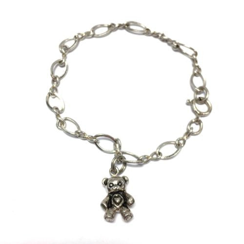 925 Sterling Silver Teddy Bear BRACELET Stamped 925, 7 Inches Long, 6.4g