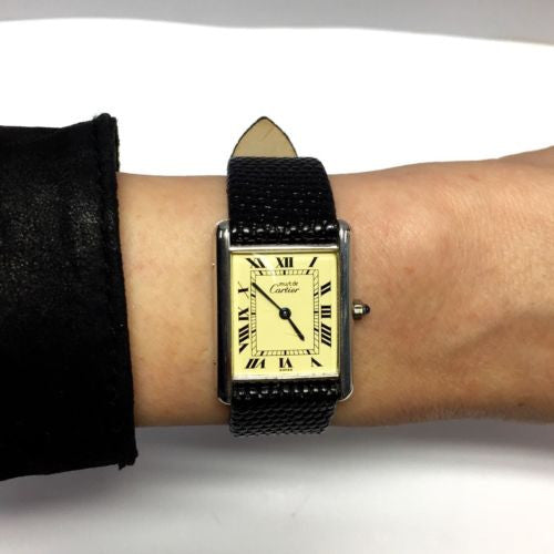 Must de CARTIER TANK Gold-plated Argent Ladies Watch w/ Black Leather Band