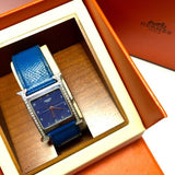 HERMÈS Stainless Steel Unisex Watch w/ Original Blue Leather Band, Box & Booklet