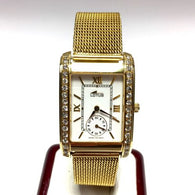 27mm LOTUS 18K Solid Yellow Gold Unisex Watch w/ DIAMONDS