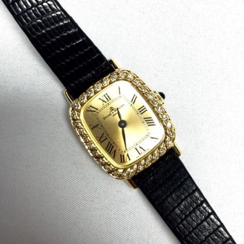 BAUME & MERCIER 18K Yellow Gold Ladies Watch w/ Diamond Bezel & Original Band