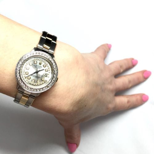 ROLEX DATEJUST 2 Tone Ladies Watch w/ Diamonds & Stretchy Bracelet in Box