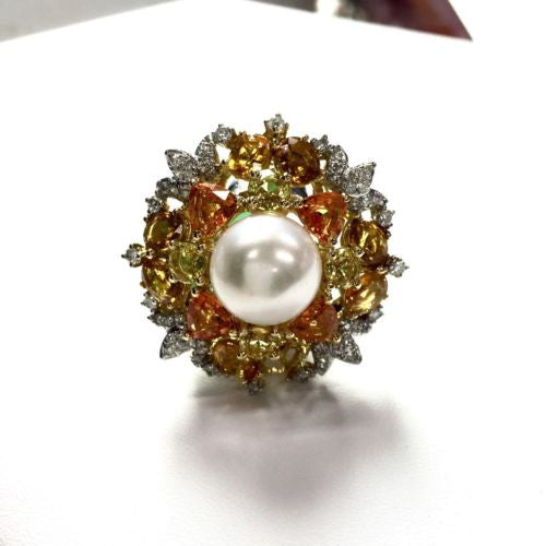 18K WHITE GOLD RING w/ DIAMONDS 1 TCW & SAPPHIRES 11.78 TCW & WHITE PEARL
