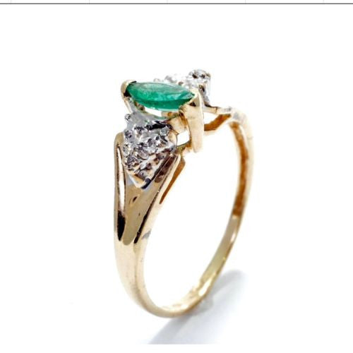 Gorgeous 10K Yellow Gold RING w/ DIAMONDS & EMERALD 0.4 TCW Size 7.75 Resizable