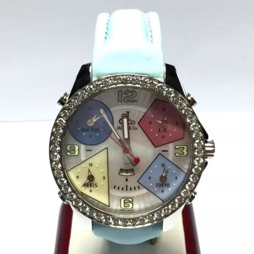 47mm JACOB & Co. 5 Time Zone Unisex Watch MOP Dial & FACTORY DIAMOND Bezel