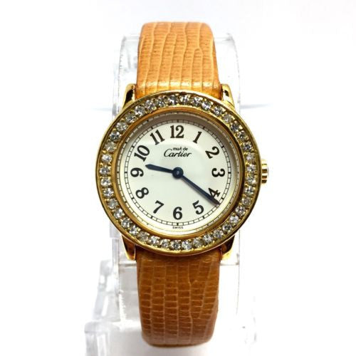 CARTIER Ronde GP Argent Ladies Watch w/ DIAMONDS & Orange-Light Brown Band