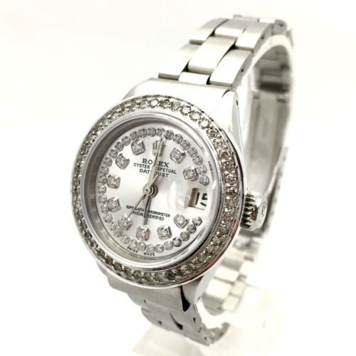 28mm ROLEX OYSTER PERPETUAL DATEJUST SS Ladies Watch w/ DIAMONDS & Silver Dial