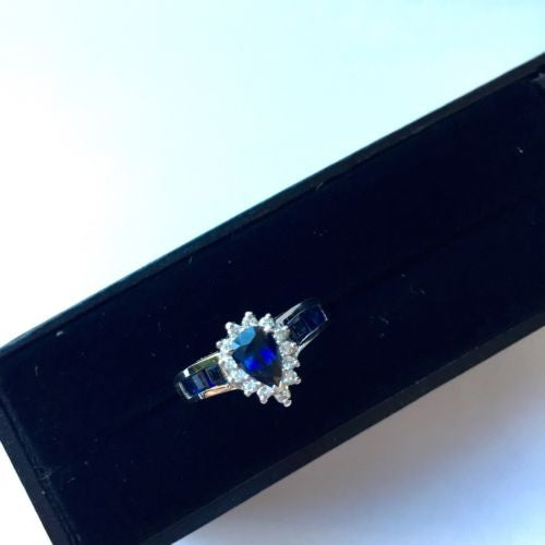 14K White Gold Deep Blue SAPPHIRE 1.5TCW RING w/ DIAMONDS 0.25TCW Size 6 Resiz