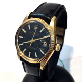 ROLEX OYSTER PERPETUAL DATE 18K Yellow Gold Unisex Watch w/ Black Dial & Band