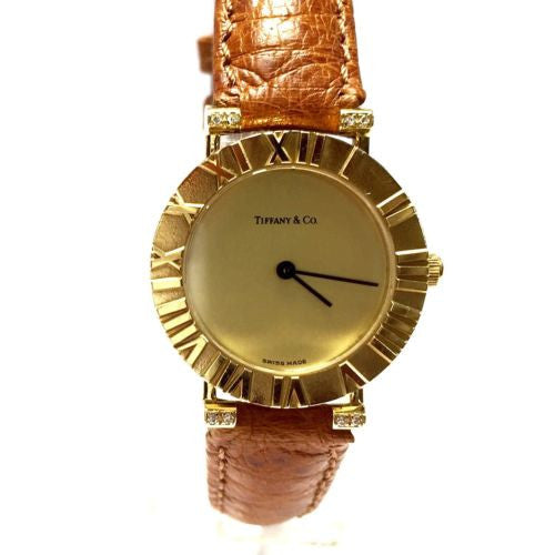 TIFFFAN & Co. Atlas 18K Gold Ladies Watch DIAMONDS & New T&Co. Ostrich Band