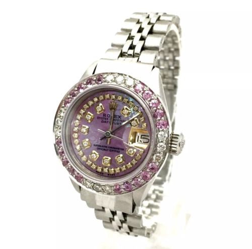 ROLEX DATEJUST Steel Ladies Watch Pink Pearl Dial DIAMONDS & PINK SAPHIRES