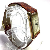 BAUME & MERCIER 14K Solid Yellow Gold Ladies Watch w/ Brown leather Band In Box