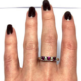 Sterling Silver Ring w/ Dark Pink SAPPHIRES Size 8.25, 3.2 g.