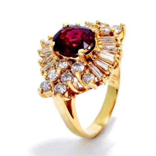 Vintage 14K Yellow Gold RING w/ DIAMONDS 1.5 TCW & RUBY 1.8 TCW, Size 6, 7.5g