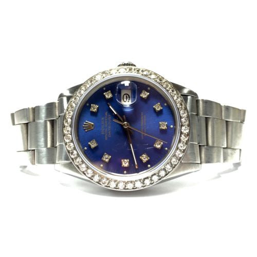 ROLEX DATEJUST Steel Men's/Unisex Watch w/ Diamond Bezel & Blue Diamond Dial