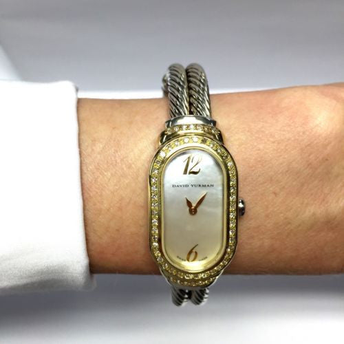 DAVID YURMAN 18K Yellow Gold & 925 Silver Ladies Bracelet Watch w/ DIAMONDS