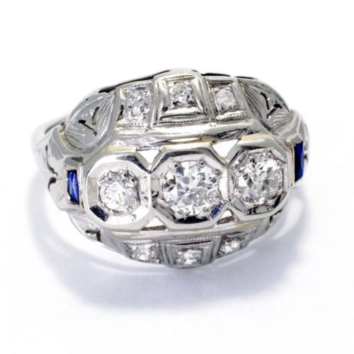 Vintage 18K White Gold RING w/ Old Mine Cut DIAMONDS 0.5 TCW, G, VS & SAPPHIRES