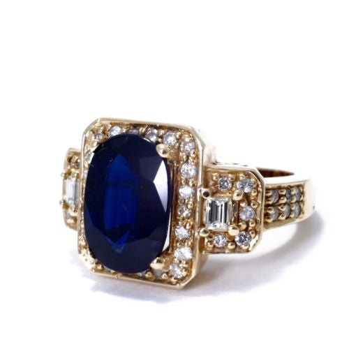 Vintage 14K Yellow Gold SAPPHIRE Unisex RING 4.95 TCW w DIAMONDS 1 TCW, G, VS-SI