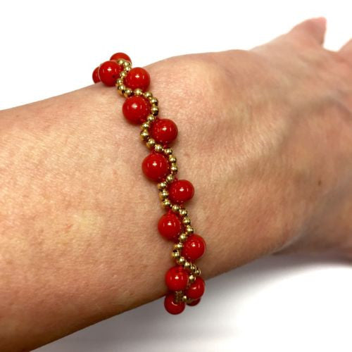 New 18K Yellow Gold CORAL BRACELET Stamped 750, 7.5 Inches Long