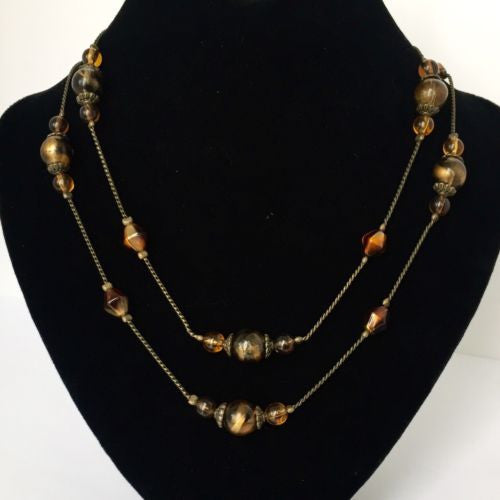 Brown & Bronze NECKLACE 31 Inches Long 17g